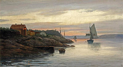Painting - Setting Sail From The Fjords At Sunset by Martin Aagaard