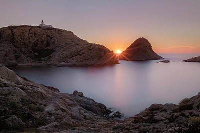 Turm Photograph - setting sun at L'Ile Rousse - Corsica by Joana Kruse
