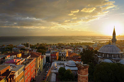Turkey Photograph - Setting Sun Behind The Sokollu Mehmet Pasha Minaret With Little  by Reimar Gaertner