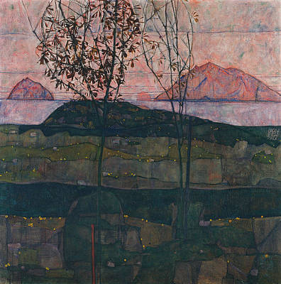20th Century Painting - Setting Sun by Egon Schiele