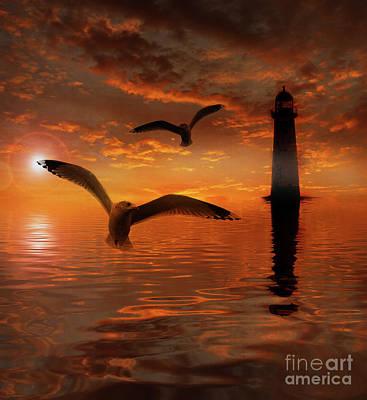 Aquatic Life Mixed Media - Setting Sun by KaFra Art