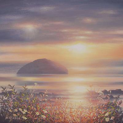 Milestone Painting - Setting Sun Over Ailsa Craig by William McLean Kerr