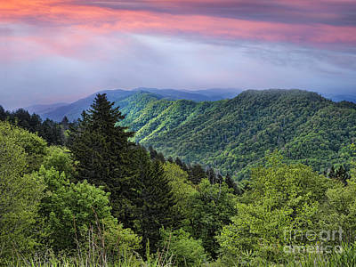 Photograph - Setting Sun Over The Smokey Mountains by Brenda Kean