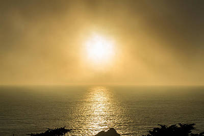 Photograph - Setting Sun With Fog by Bonnie Follett