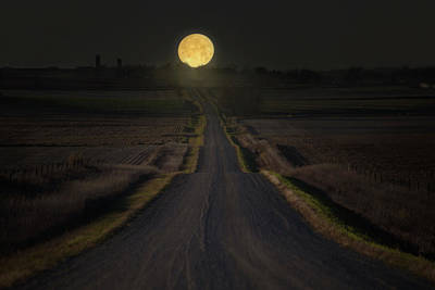 Gravel Road Photograph - Setting Supermoon by Aaron J Groen