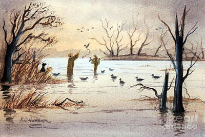 Painting - Setting The Decoys II by Bill Holkham