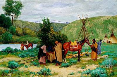 Setting Up Camp - Little Big Horn Art Print by Pg Reproductions