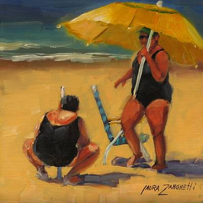 People On Beach Wall Art - Painting - Setting Up by Laura Lee Zanghetti