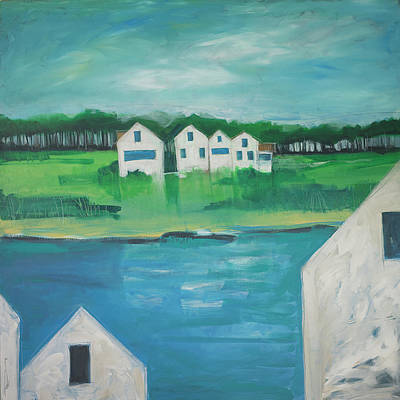 Painting - Settlement By Lake by Tim Nyberg