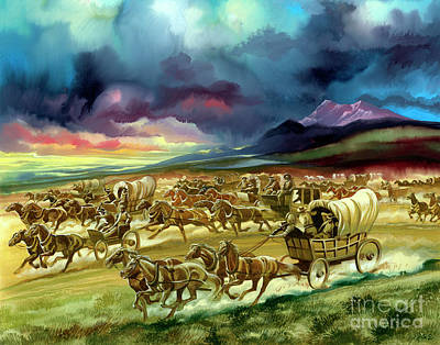 Settlers On A Land Race Into Indian Territory Art Print