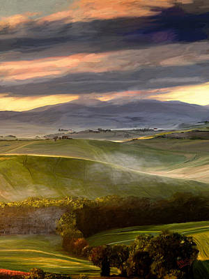 Mountain Valley Painting - Settling Down by James Shepherd