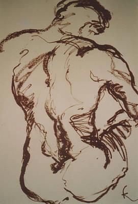 Male Nude Drawing Drawing - Seul by Kohlene Hendrickson