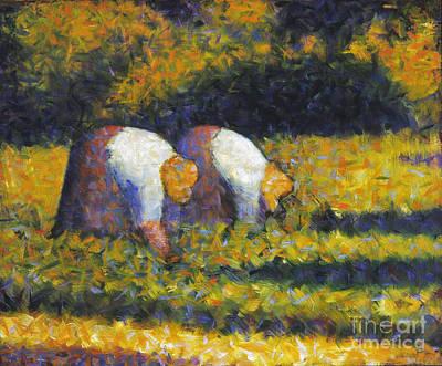 Seurat Photograph - Seurat: Farm Women, C1882 by Granger