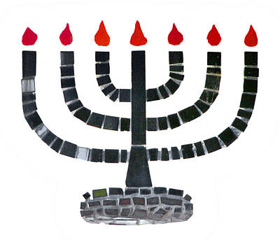 Mosaic Photograph - Seven-branched Temple Menorah by Christine Till