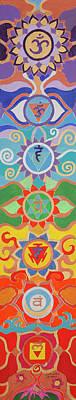 Chakra Painting - Seven Chakras Harmony Pillr by Sandra Petra Pintaric