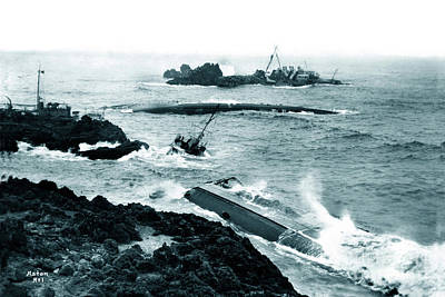Photograph - seven destroyers Honda Point disaster September 8, 1923 by California Views Archives Mr Pat Hathaway Archives