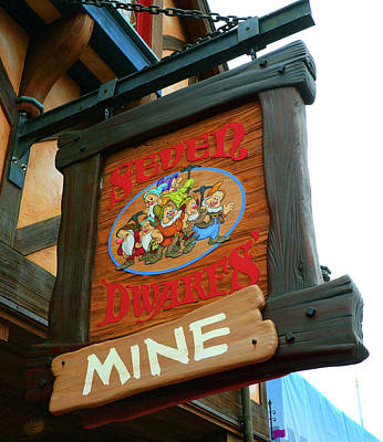 Photograph - Seven Dwarfs Mine Train Sign by David Lee Thompson