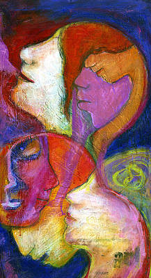 Abstract Expressionistic Painting - Seven Faces by Claudia Fuenzalida Johns
