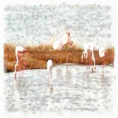 Painting - Seven Flamingos A Feeding Watercolor by Tracey Harrington-Simpson
