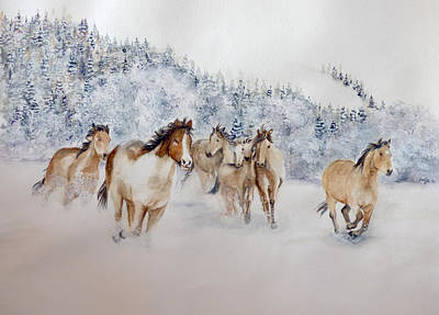 Montana Artist Painting - Seven In The Snow by Shirley Bouldin