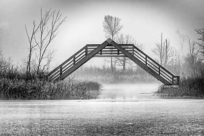 Photograph - Seven Ponds A Frame Bridge Bw by LeeAnn McLaneGoetz McLaneGoetzStudioLLCcom