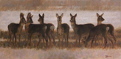 Painting - Seven Roe Deers by Attila Meszlenyi