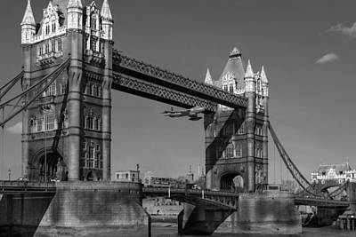 Art Print featuring the photograph Seven Seconds - The Tower Bridge Hawker Hunter Incident Bw Versio by Gary Eason