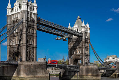 Art Print featuring the photograph Seven Seconds - The Tower Bridge Hawker Hunter Incident  by Gary Eason