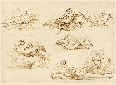 Drawing - Seven Studies For Leda And The Swan by Theodore Gericault