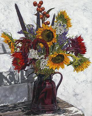 Seven Sunflowers Art Print by Nanette Vacher