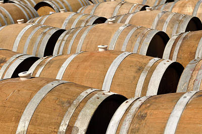 Photograph - Several Wine Barrels by Brandon Bourdages