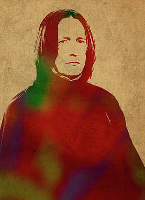 Severus Snape Mixed Media - Severus Snape From Harry Potter Watercolor Portrait by Design Turnpike