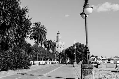 Monochrome Photograph - Sevilla - Torre Del Oro Bw 4 by Andrea Mazzocchetti