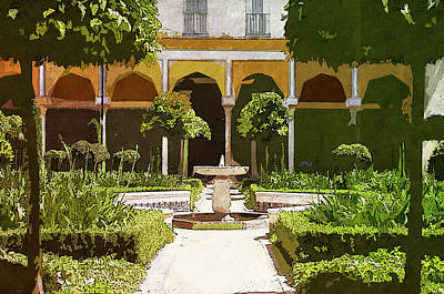 Painting - Seville, Andalusian Patio - 03 by Andrea Mazzocchetti