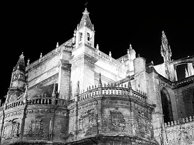 Photograph - Seville Cathedral At Night by John Rizzuto