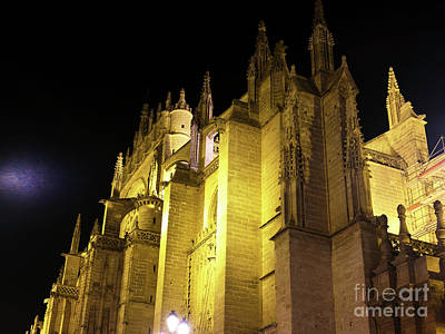 Photograph - Seville Cathedral Dimensions At Night by John Rizzuto