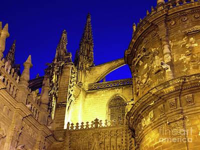 Photograph - Seville Cathedral Night Angles by John Rizzuto