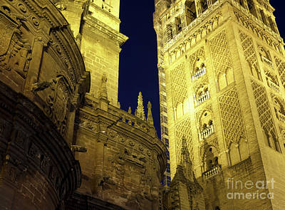 Photograph - Seville Cathedral Night Glow by John Rizzuto