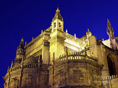 Photograph - Seville Cathedral Night Lights by John Rizzuto