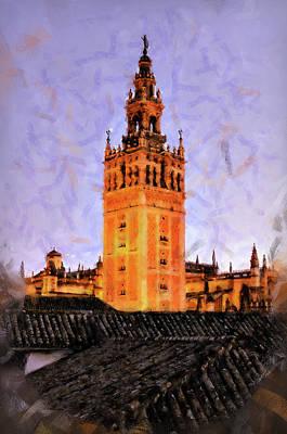 Painting - Seville, Giralda - 04 by Andrea Mazzocchetti