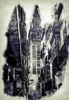Drawing - Seville, Giralda - 06 by Andrea Mazzocchetti