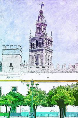 Painting - Seville, Giralda - 08 by Andrea Mazzocchetti