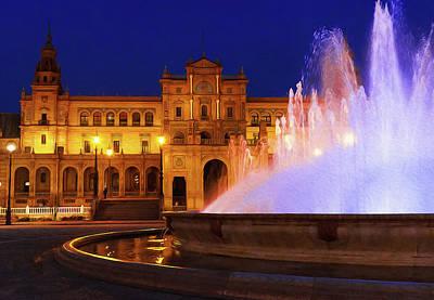 Painting - Seville, Lights Of Plaza De Espana by Andrea Mazzocchetti