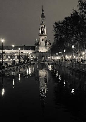 Photograph - Seville - Plaza De Espana At Night In Bw by Andrea Mazzocchetti