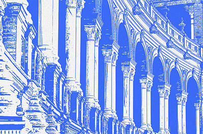 Painting - Seville, Plaza De Espana In Blue by Andrea Mazzocchetti