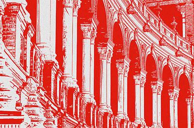 Painting - Seville, Plaza De Espana In Red by Andrea Mazzocchetti