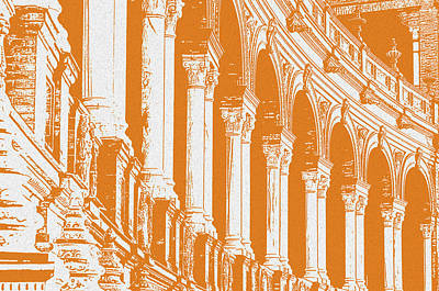 Painting - Seville, Plaza De Espana In Yellow by Andrea Mazzocchetti
