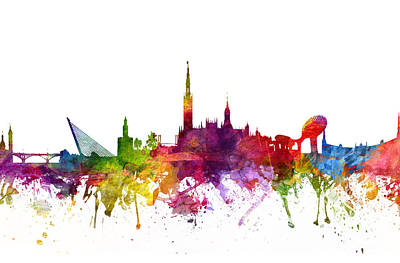 Rainbow Colors Digital Art - Seville Spain Cityscape 06 by Aged Pixel