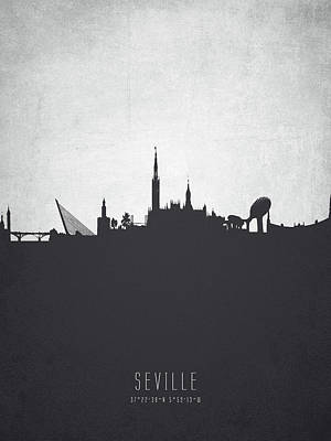 Spain Painting - Seville Spain Cityscape 19 by Aged Pixel