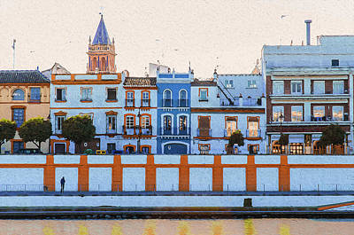 Painting - Seville, The Colors Of Calle Betis by Andrea Mazzocchetti